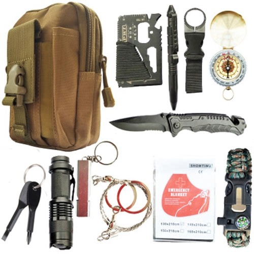 Κιτ Επιβίωσης 12 in 1 survival kit Set Outdoor Camping Travel Multifunction First aid SOS EDC Emergency Supplies Tactical for Wilderness