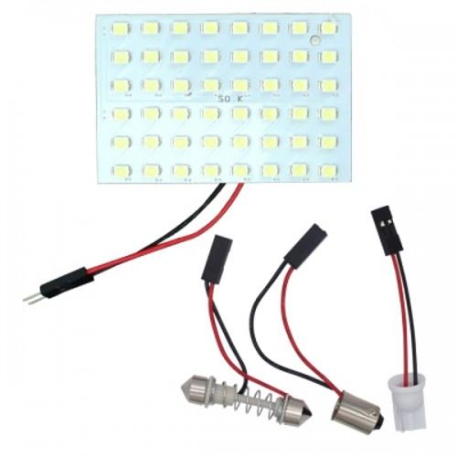 OEM PB-2216 2PCS 48 LED 3528 SMD Car Panel Light Bulbs 12V Πλαφονιέρας με αντάπτορα για T10+BA9S+Festoon Λευκό