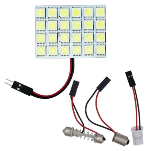 OEM PB-2217 4PCS 24 LED 5050 SMD Car Panel Light Bulbs 12V Πλαφονιέρας με αντάπτορα για T10+BA9S+Festoon Λευκό