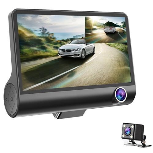 3 Lens WDR Dash Camera 4 inch Display HD 1080P Car DVR