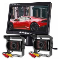 ZIQIAO 7 Inch Monitor Car 18 IR Light 2 X Cameras Rear View Display System For Truck