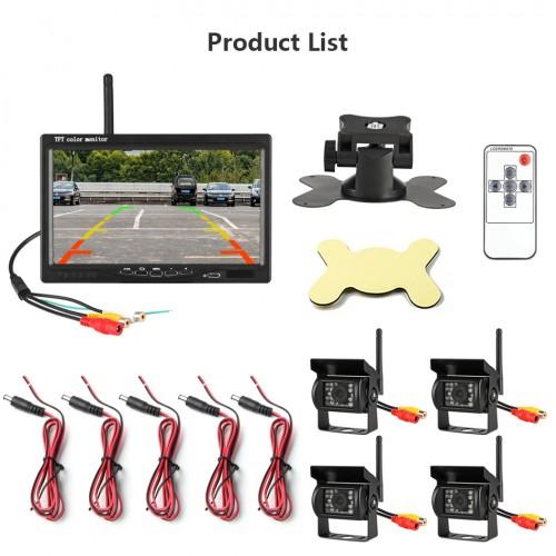 PZ607-4W Οθόνη και 4 Ασύρματες κάμερες για φορτηγό 7 Inch Monitor (11V-32V) Car IR Camera (12v/24v) Rear View Display System For Truck
