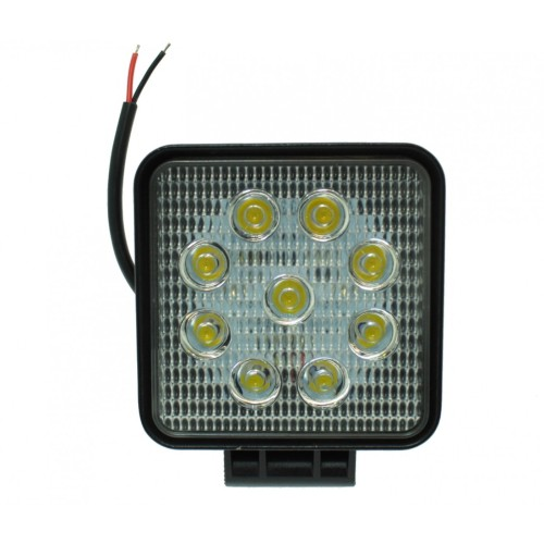 LED Αδιάβροχος Τετράγωνος Προβολέας 27W, 9 SMD 12V-24V 2700LM 6000K