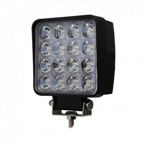 LED Αδιάβροχος τετράγωνος προβολέας με 2 λειτουργίες 48W 16 SMD 12V-24V 4320LM 6500-3000K για βάρκες τρακτέρ φορτηγά αυτοκίνητα 1 τεμ. IP68 OEM