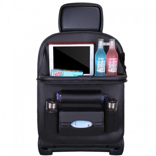 Car organizer for the seat foldable shelf mini car table black
