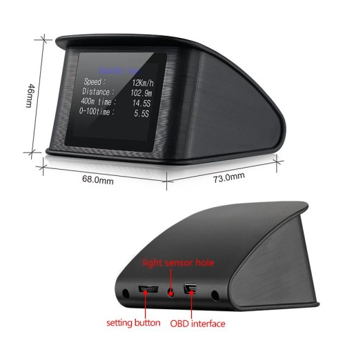 OBD2/EUOBD Speed/Temperature Alarm P10 Car HUD Head-Up Display