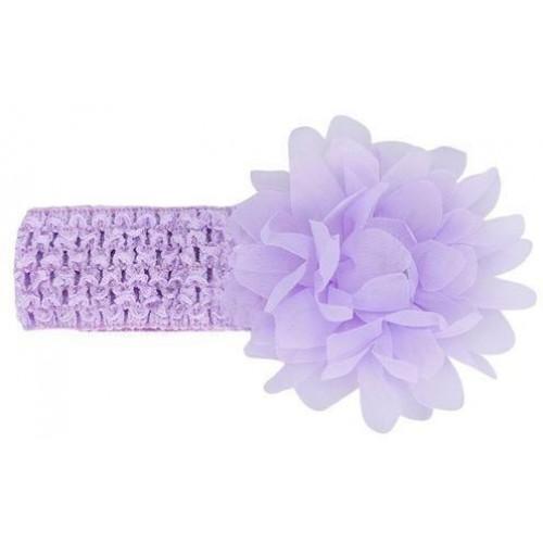 Βρεφική κορδέλα Λιλά Charming Girl Child Flower Floral Shape Chiffon Knitting Elastic Headwear Headband