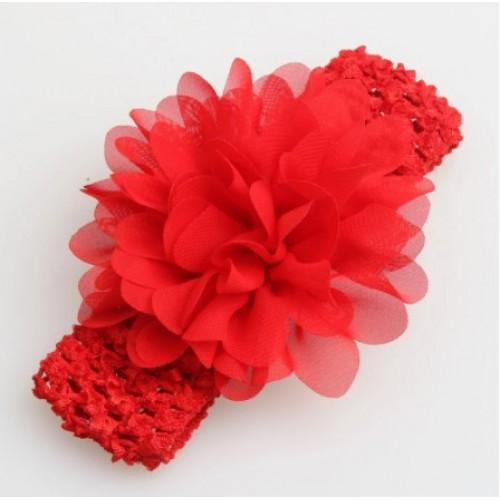 Βρεφική κορδέλα Κόκκινη Charming Girl Child Flower Floral Shape Chiffon Knitting Elastic Headwear Headband