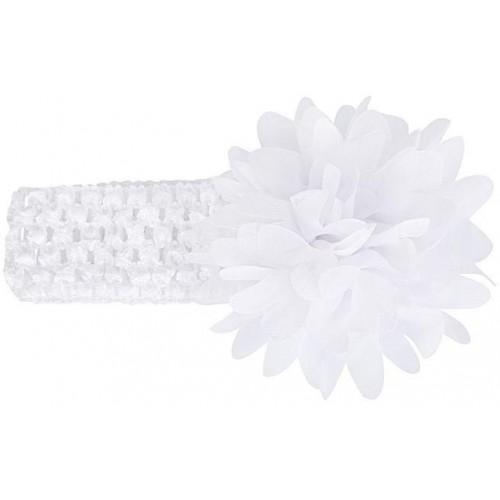 Βρεφική κορδέλα Λευκή Charming Girl Child Flower Floral Shape Chiffon Knitting Elastic Headwear Headband