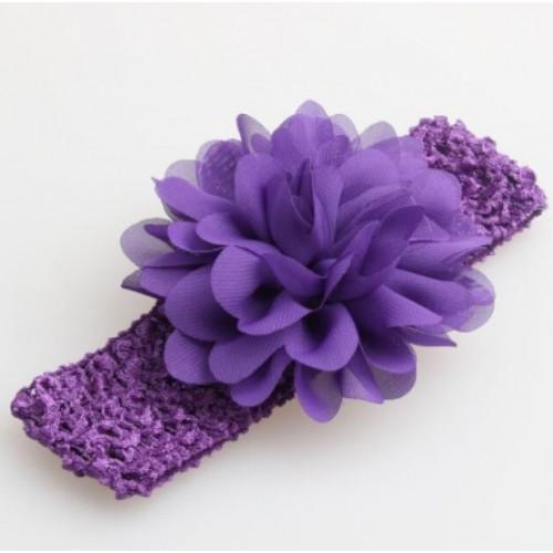 Βρεφική κορδέλα Μωβ Charming Girl Child Flower Floral Shape Chiffon Knitting Elastic Headwear Headband