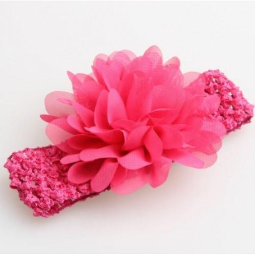 Βρεφική κορδέλα Φούξια Charming Girl Child Flower Floral Shape Chiffon Knitting Elastic Headwear Headband