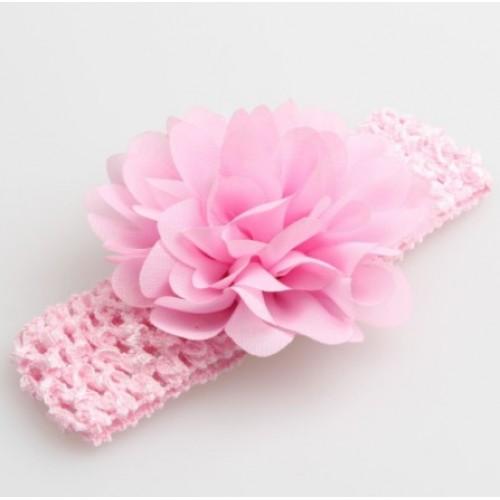 Βρεφική κορδέλα Ροζ Charming Girl Child Flower Floral Shape Chiffon Knitting Elastic Headwear Headband