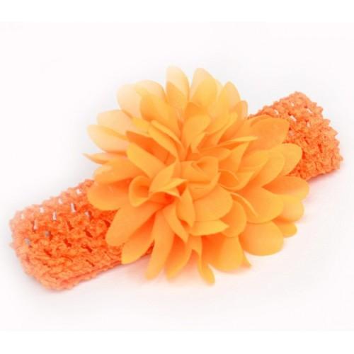 Βρεφική κορδέλα Κροκί Charming Girl Child Flower Floral Shape Chiffon Knitting Elastic Headwear Headband