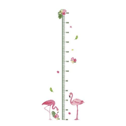 Flamingo Αυτοκόλλητο τοίχου υψομετρητής, Αναστημόμετρο για  παιδικό δωμάτιο