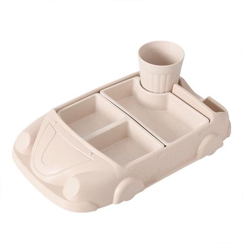 Μπολ φαγητού για μωρά E11 Baby Separated Bowl Creative Car Styling Tableware Breakfast Dinner Plate - Μπεζ