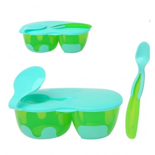 Kiokids Μπολάκι Αντιολισθητικό Διπλό με Καπάκι και Κουταλάκι Πράσινο 6+Μ