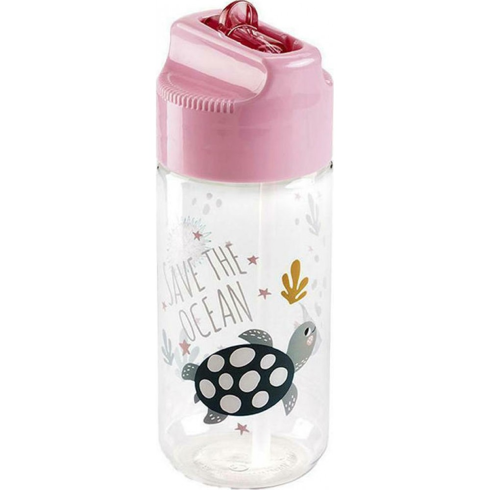 Miquelrius Πλαστικό Παγούρι Save The Ocean Ροζ 430ml
