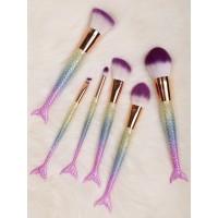 Σετ 6 πινέλα μακιγιάζ σε σχήμα γοργόνας χρυσό ροζ μωβ Mermaid Shape Multifunction Υγεία - Ομορφιά