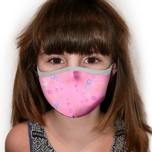 Kukuxumusu Επαναχρησιμοποιούμενη Παιδική Μάσκα WindFlap Rosa Δέσιμο Κεφάλι 6-9 Ετών