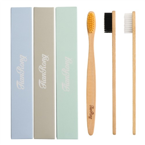 JIANRONG Environmentally Wood Toothbrush Bamboo Fibre Wooden Handle 3pcs OEM