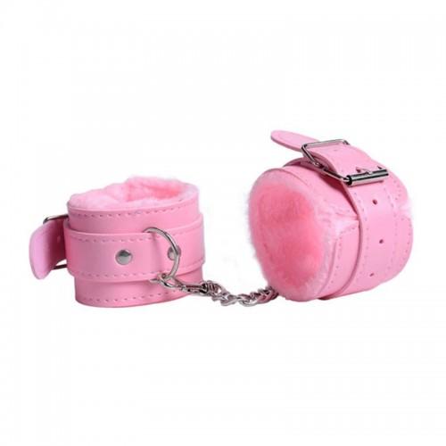 Δερμάτινες Χειροπέδες Γούνινες - Ροζ