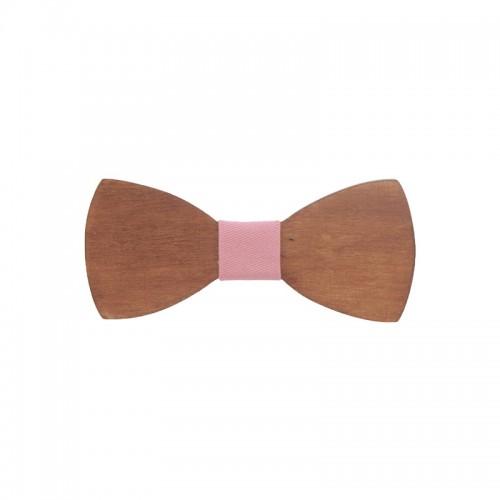 Ξύλινο Βρεφικό Παπιγιόν Με Ροζ Κόμπο